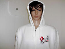 Pokerstars Full Zip White Hoodie 2XL Long Sleeve 100% Cotton PAC 2010