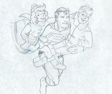 Superman VINTAGE production cel drawing COA 2*