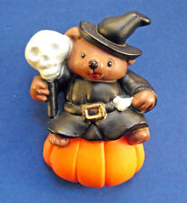 Buy3/Get1FREE~HALLOWEEN Pin BEAR in WITCH Costume w SKULL on PUMPKIN Vtg Holiday