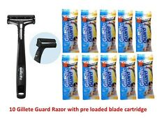 10 Gillette Guard Razor with cartidge easy safe Smooth shave safety travel razor