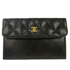 Authentic CHANEL Vintage CC Logos Quilted Wallet Purse Leather Black RK12014