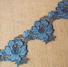 2.5''  Wide Vintage Rayon Venise Lace Trim Teal Blue s0236