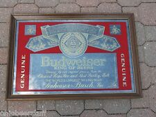 VINTAGE 1987 BUDWESIER BUD  BEER SIGN GLASS MIRROR  STYLISH QUALITY SIGN