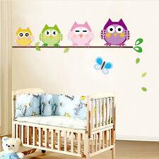 4 Gufi Farfalla Sticker Adesivi Murali Decal Bambini Baby Nursery