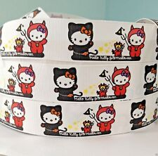 "GROSGRAIN RIBBON 1"" HELLO KITTY h93 Halloween Printed FOR Hairbows USA Seller"