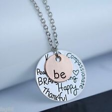 New Two Tone Pendant Necklace Be Strong Happy Brave Peace Thankful True Free