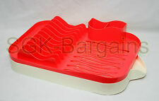 New Plastic Dish Drainer Rack Utensil Cutlery Kitchen Sink Drip Tray Design RED
