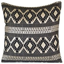 Black Geometric Silver Large Cushion Cover Cotton Lurex Floor European 60cm 24""