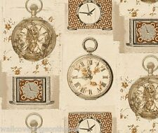 AUCTION FOR 2 ROLLS OF Clocks & Watches Themed, Cushioned Vinyl, Wallpaper