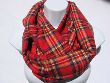 sale red plaid infinity scarf flannel scarf man woman fall winter scarf