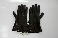 Moschino gloves brown leather logo alligator silver heart size 7