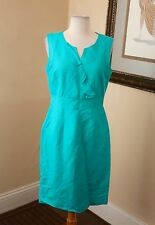 Tahari ASL Arthur Levine Blue Teal Sheath Dress Linen 8 Ruffle Office Cocktail
