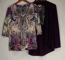 One World Top M Lace Back Cardigan & Embellished Top Purple NEW