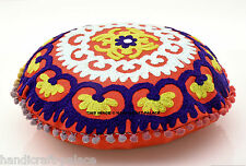 SUZANI EMBROIDERED PILLOW CUSHION COVER Colorful Decorative Ethnic Round Throw