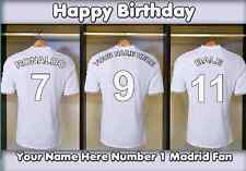 A5 personalised football Real Madrid Dressing Room Birthday Card no1 Fan