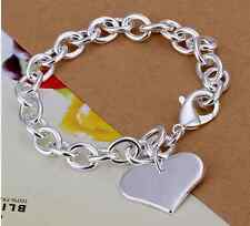 925 Sterling Silver Heart Link Chain Bracelet Gift  FREE P&P