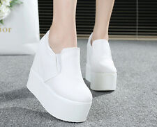 Womens Platform Wedge Heel Ankle Boots Shoes Sneakers Fashion Canvas Sz New
