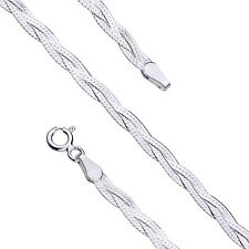"""Solid 925 Sterling Silver Braided Snake Chain Necklace, 18"""" (45 cm) 2,9 mm width"""