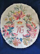 Antique Crewel Embroidery ROYAL MONOGRAM Crown JACOBEAN FLORALS Oval Pillow Top
