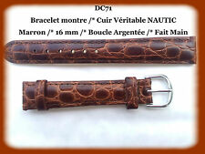 BRACELET MONTRE CUIR VERITABLE NAUTIC /* MARRON /* 16 mm REF.DC71