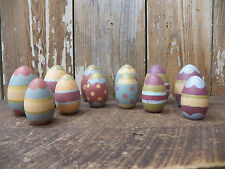 Primitive Set Lot 12 Decorated Patterned  Wood Wooden Painted Easter Eggs