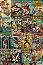 Iron Man Comic Covers Poster Marvel Retro Vintage Print Wall Art Large Maxi