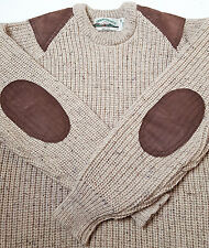 Aran Craft M Elbow Shoulder Patch Wool Hunting Sweater Cable Knit IRELAND Flake