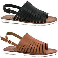 Ladies Summer Sandals Womens Strappy Gladiator Walking Fancy Beach Shoes Size
