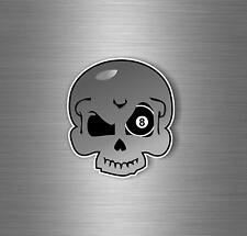Sticker decal wall car moto biker ball 8 billard pool magic black eight skull