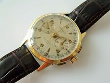 GENT'S VINTAGE GOLD PLATED LEMANIA 105 MANUAL WINDING CHRONOGRAPH WRIST WATCH