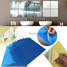 9pcs Square Mirror Wall Stickers 3D Decal Mosaic Home Wash Room Window Decor ES9