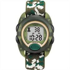 Kids Timex Indiglo Sport Alarm Digital Green Elastic Fabric Band Watch T71912