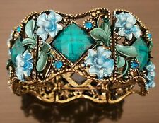 Antiqued Bronze Turquoise Rhinestone and Blue Enamel Flower Link Cuff Bracelet