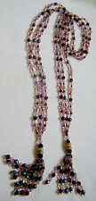 Joan Rivers Firepolished Crystal Removable Tassle Lariat Necklace Purple Aqua 49