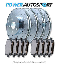 (FRONT + REAR) POWER DRILLED SLOTTED PLATED BRAKE DISC ROTORS + PADS 75749PK