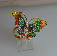 18K YELLOW GOLD MULTI GEM GARNET SAPPHIRE RUBY DIAMOND NATURE BUTTERFLY RING