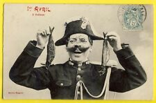 cpa 1900 BERGERET Humour GENDARME 1er AVRIL Poissons APRIL FOOL DAY Policeman