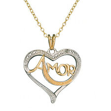 18K Gold over Sterling Silver Diamond Accent 'Amor' Love Heart Pendant Necklace