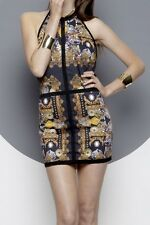 MAURIE & EVE Papaya Halter DRESS Royalty Baroque Animal Jungle MEDIUM NEW $187