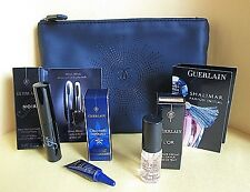 GUERLAIN 5 PIECE SET MAKEUP BAG ORCHIDEE IMPERIALE EYE CREAM L'OR GOLD MASCARA