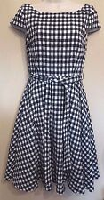 Hobbs London UK8 EU36 US4 black/white check cap-sleeved belted lined dress