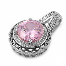 FREE SHIPPING! PINK TOPAZ .925 Sterling  Silver Filigree SLIDE Pendant