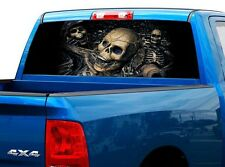 P485 Pirate Skull Rear Window Tint Graphic Decal Wrap Back Truck Tailgate