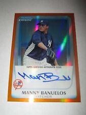 MANNY BANUELOS 2011 Bowman Chrome ORANGE REFRACTOR Autograph #20/25 AUTO Braves