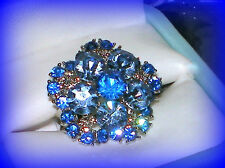 SEPTEMBER BIRTHSTONE SAPPHIRE BLUE CRYSTAL FLOWER RING ADJUSTABLE SIZE 7/8/9/10