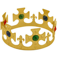 Gold Plastic King Queen Jewel Nativity MAJESTIC CROWN Fancy Dress Hat PS UK SELL