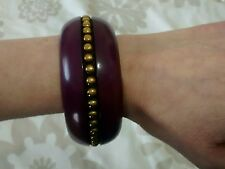 River Island Ladies Chunky Purple Plastic Statement Bangle With Gold Beads BNWOT