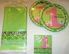 GIRL 1st BIRTHDAY PARTY Set GREEN GIRAFFE First TABLE COVER 16 NAPKINS 16 PLATES