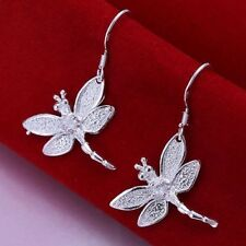 Womens 925 Sterling Silver Plated Dragonfly Charm Pendant Earrings Ear Hook