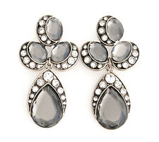 SILVER GRAY BLACK TEAR DROP DESIGNER RHINESTONE Gold Chandelier Flower Earrings